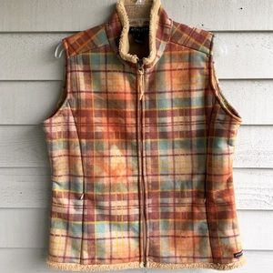 Athleta Plaid Shearling Lined Zip Front Vest